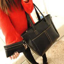 包包2013春季新款潮女包 韩版大包 欧美时尚黑色英伦复古单肩包包 价格:49.00