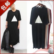 韩国订单stylenanda三角形图案宽松大码bf男友风短袖连衣裙长裙 价格:47.00