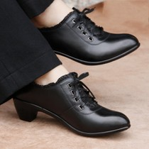 公羊金品真皮妈妈鞋坡跟尖头中跟中年女鞋单鞋休闲女皮鞋工作鞋子 价格:118.00