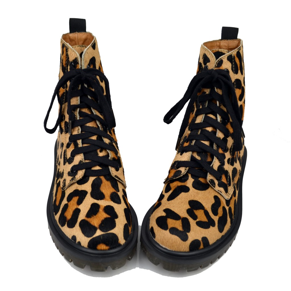 2013春秋个性真皮豹纹马丁靴 马毛皮短靴 欧美女靴机车靴系带靴子 价格:298.00