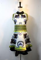 刘诗诗柳岩明星大牌同款中国风复古翻领印花修身显瘦连衣裙秋装裙 价格:135.00