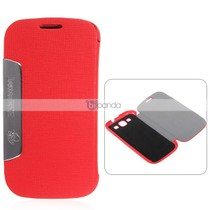 Leather Wallet Case in Fashion Design Stand for i9300 - Red 价格:47.02