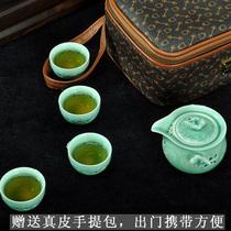 茶具 旅行功夫茶具 陶瓷套装 玲珑青瓷正品 快客杯 便携式 包邮 价格:98.00