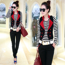 三件套女装秋装新款美特斯邦威2013韩版时尚套装修身短外套女长裤 价格:139.00