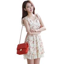韩依人 2013韩版女装新款夏季高腰修身短袖碎花雪纺连衣裙 价格:138.00