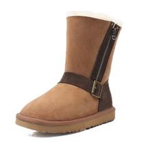 2013新款 正品羊皮毛一体雪地靴 5825侧拉链中筒皮靴大码清仓女鞋 价格:235.00