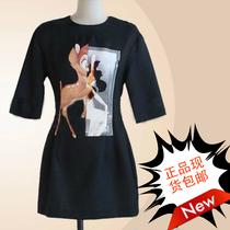 韩国代购partysu2013新款韩版修身小鹿斑比印花中袖秋款连衣裙 价格:159.00