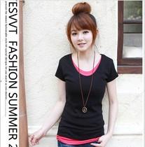 包邮2013新款秋装女装短袖t恤女韩版修身圆领拼接假两件短袖t恤 价格:19.94