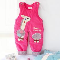 2013童装宝宝冬装灯芯绒背带裤加厚夹棉婴儿开档背带棉裤子男女童 价格:44.80