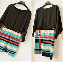 欧美外贸原单jessica simpson高端蝙蝠雪纺拼接连衣裙包臀裙大码 价格:149.00