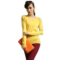 【天天特价】13秋季新品女装打底衫 100%纯羊绒衫 V领针织衫毛衣 价格:99.00