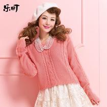 乐町2013冬装新款日系甜美女装 绞花针织衫套头长袖毛衣长袖外套 价格:199.00