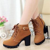 2013新款秋季爆款靴子女粗跟单靴女鞋高跟及裸靴马丁靴侧拉链短靴 价格:39.00