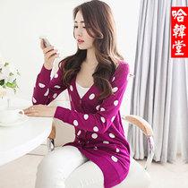 2013春秋装韩版修身中长款针织开衫外搭 女装甜美波点学生外套 价格:88.20