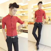 夏装韩版修身纯色中袖衬衫男士五分袖衬衫半袖衬衣发型师时尚服饰 价格:55.00