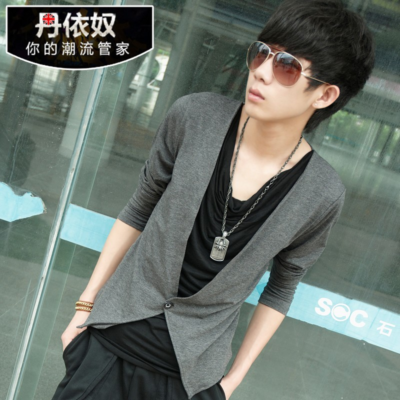 丹依奴 青少年春秋装假两件男长袖t恤韩版修身潮流男装非主流衣服 价格:69.00