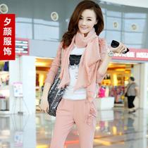 惜颜2013秋装新款韩版时尚立体装饰丝巾两件套优雅休闲套装女 价格:229.00