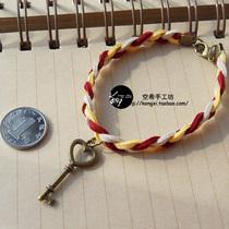圣诞手链 礼物手绳 韩版皮绒绳手镯 撞色复古 学院清新 独家原创 价格:9.80