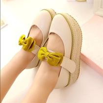 梦尚丽新款蝴蝶结浅口防水台坡跟单鞋松糕厚底高跟麻编低帮单鞋女 价格:64.80