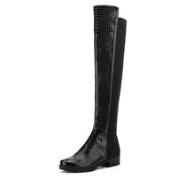 美播者2013秋季新款英伦亮面拼接弹力靴 粗跟圆头个性女士长靴 价格:258.00