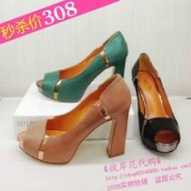 正品代购 2013夏款新款 真美诗ZMI53 浅口鱼嘴防水台高粗跟女凉鞋 价格:308.00