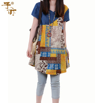 子亦 2013夏季新品女装宽松大码牛仔拼接印花图案短袖花色衬衫 女 价格:128.00