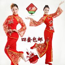 新款秧歌服装 民族舞蹈服 现代舞手绢扇子舞 演出服 腰鼓服装红色 价格:68.00