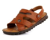 2013夏季新款美国骆驼正品时尚沙滩鞋男真皮露趾凉鞋凉拖鞋 价格:128.00