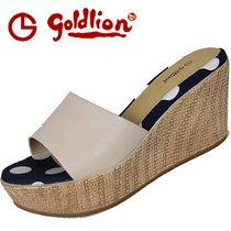 专柜正品金利来女鞋带防伪 2013夏款厚底坡跟凉拖鞋63253AB00823 价格:320.00