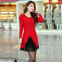 品牌哥弟秋冬款女装中长款纯色羊绒衫连衣裙韩版修身显瘦羊毛裙 价格:168.00