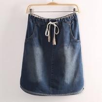 特价 休闲牛仔短裙 韩版外贸百搭显瘦时尚松紧腰身纯色牛仔半身裙 价格:55.00