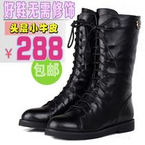 秋冬季真皮马丁靴女 黑色欧美机车平跟裸短靴子 军靴英伦高筒单靴 价格:298.00