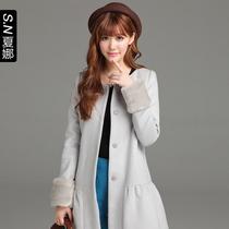西西家2013秋冬装新款 韩版高档时尚羊毛呢大衣 女中长款毛呢外套 价格:299.34
