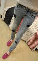 牛仔裤女韩版潮春装新款美丽说特色蕾丝补丁设计弹力小脚铅笔裤子 价格:46.00
