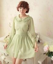 彩轩家2013日式森女系秋装甜美娃娃领长袖高腰裙子公主雪纺连衣裙 价格:108.00