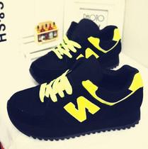 韩版甜美荧光色炮弹女鞋N字母松糕鞋单鞋拼色潮鞋 磨砂皮运动鞋女 价格:99.00