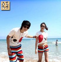 2013 新 韩版 情侣 彩虹 沙滩裤 爱心 T恤 套装 休闲裤 短裤 价格:8.79