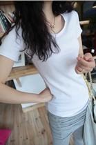 包邮2013夏装新款 韩版修身显瘦纯色圆领短袖t恤女装紧身打底衫潮 价格:19.00