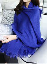 女装2013秋冬韩国新款保暖超长素色毛须须流苏大披肩围巾围脖斗篷 价格:39.99