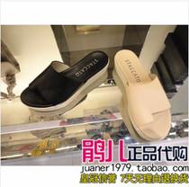 专柜正品代购 思加图 2013夏新款松糕厚底罗马坡跟女凉拖鞋9NF04 价格:288.00