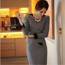 2013秋装新款韩版女装秋冬修身包臀高端气质职业长袖羊毛呢连衣裙 价格:118.30
