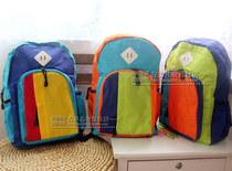 日系原宿风儿童帆布书包背包旅游双肩包 撞色亮色男女童双肩包 价格:45.00