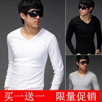 包邮 时尚潮款 秋装韩版修身小衫V领男装T恤 男士纯色棉质打底衫 价格:49.50