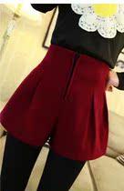 2013新款时尚韩版百搭学院呢料高腰短裤 418 价格:28.80