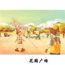 武汉大学手绘明信片 武大手绘明信片  花园广场 价格:4.80