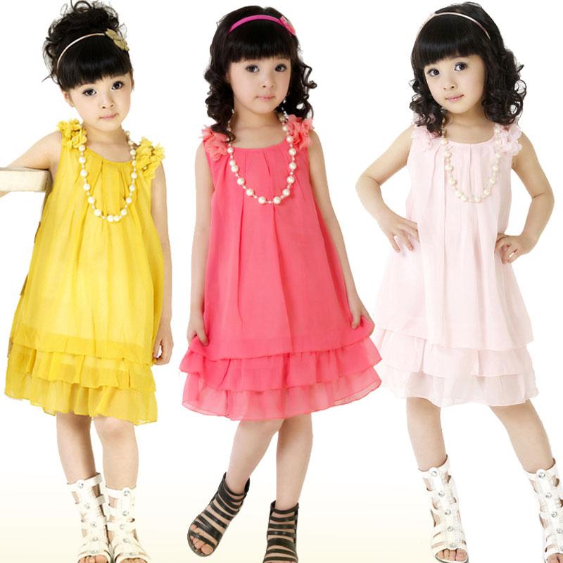 2013儿童韩版连衣裙新款夏季淑女雪纺中裙子大童装背心裙吊带裙型 价格:41.25