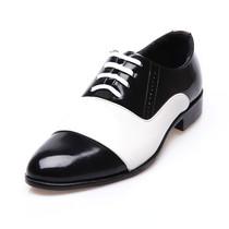 春秋单鞋韩版正品男士时尚三接头皮鞋黑白色漆皮潮鞋尖头低帮鞋男 价格:40.00