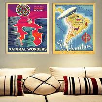 飞屋环游记手绘复古海报8幅无框画家居客厅室内简约装饰挂画包邮 价格:38.50