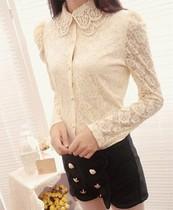 阿依莲型秋装新款2013正品韩版时尚气质淑女屋蕾丝衬衫长袖打底衫 价格:48.00