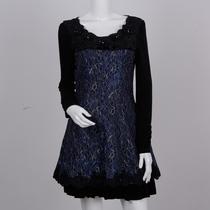 罗曼斯80822秋冬新款韩版修身长袖连衣裙 烫钻中腰双层裙边钉珠 价格:195.00